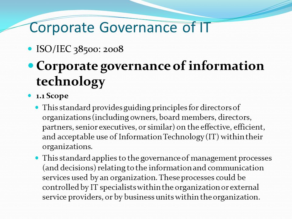 Corporate Governance of IT