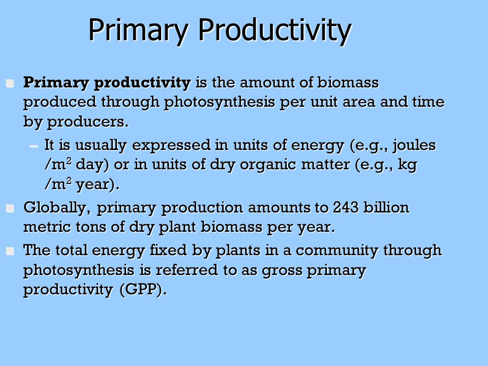 Primary Productivity Primary productivity is the amount of biomass produced through photosynthesis per unit area and time by producers.