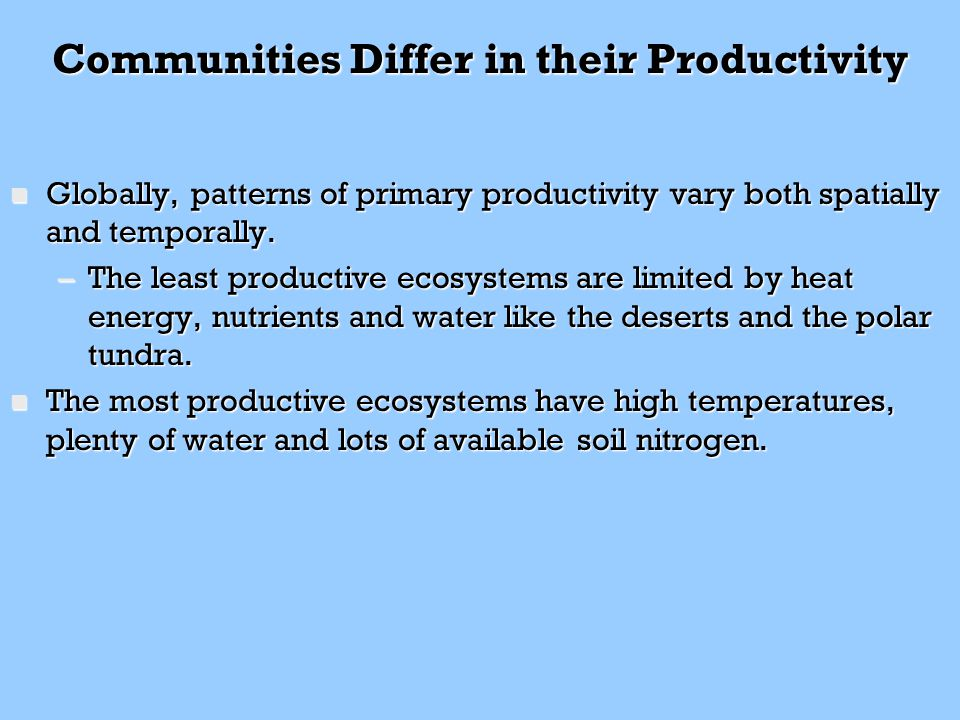 Communities Differ in their Productivity