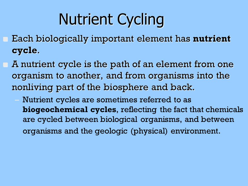 Nutrient Cycling Each biologically important element has nutrient cycle.