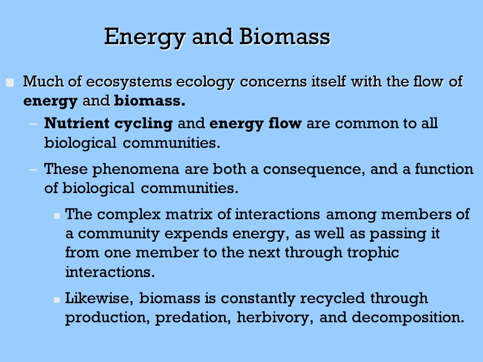 Energy and Biomass Much of ecosystems ecology concerns itself with the flow of energy and biomass.