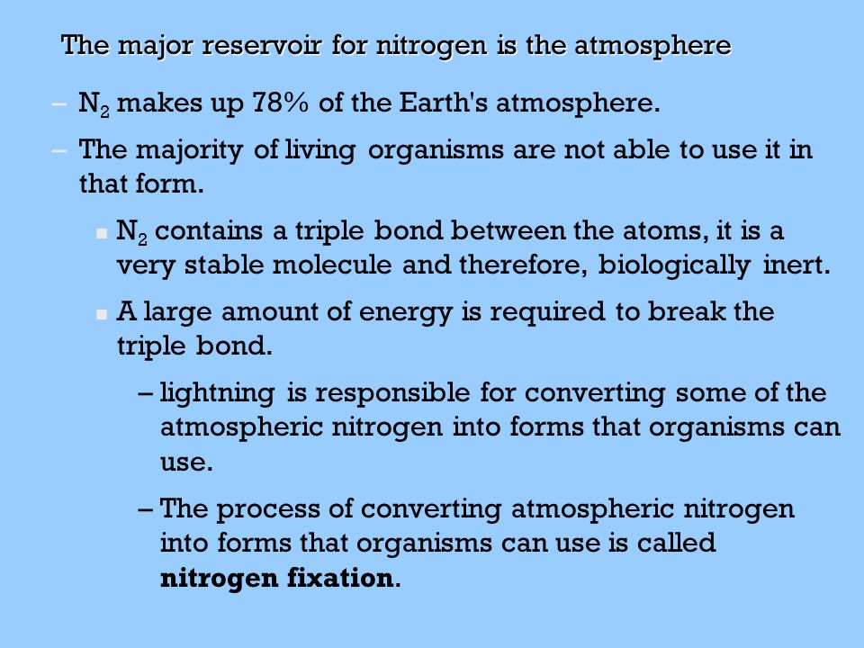 The major reservoir for nitrogen is the atmosphere