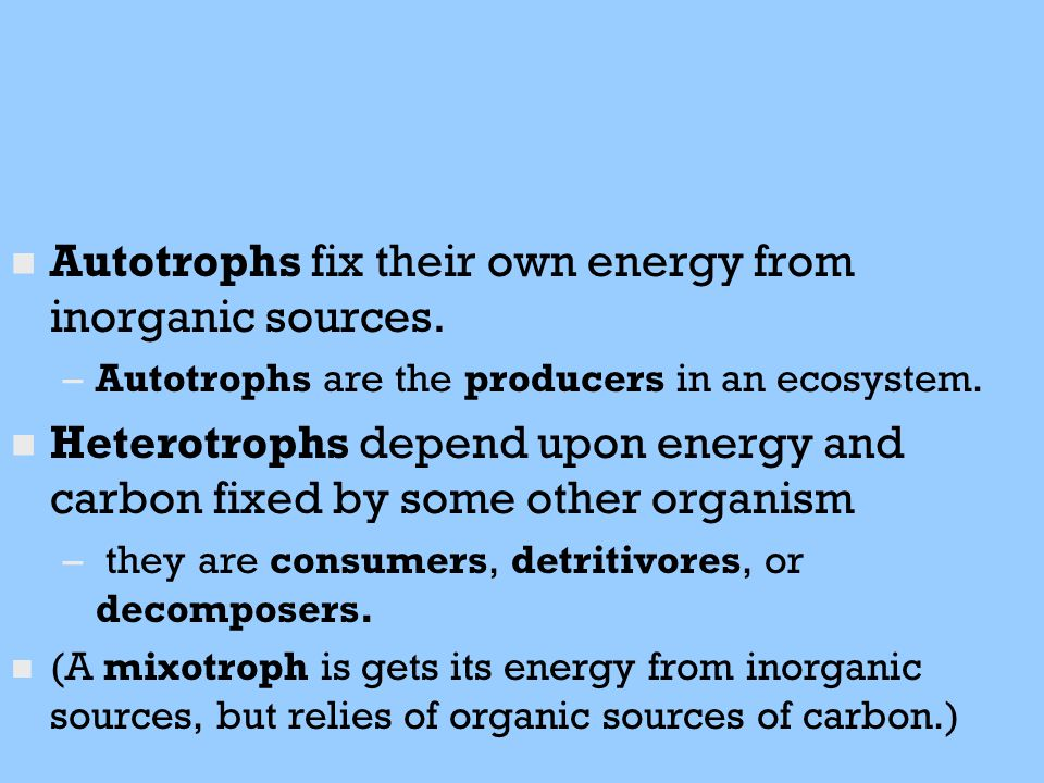 Autotrophs fix their own energy from inorganic sources.