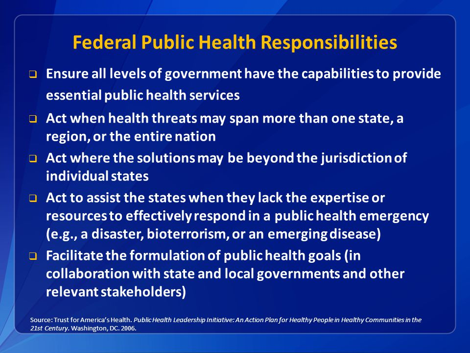 Federal Public Health Responsibilities