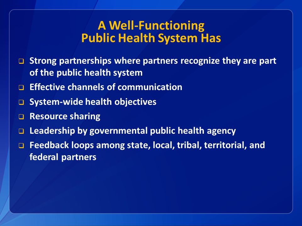 A Well-Functioning Public Health System Has