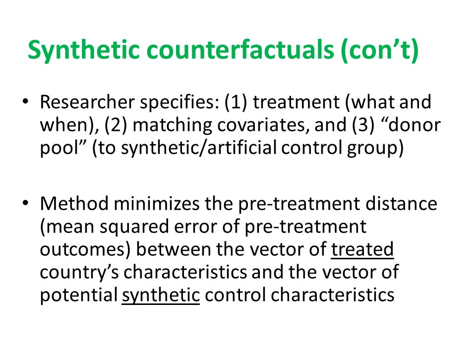 Synthetic counterfactuals (con't)