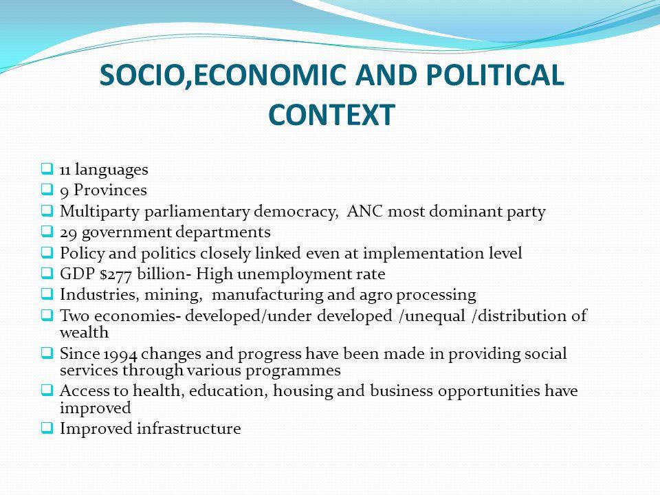 SOCIO,ECONOMIC AND POLITICAL CONTEXT