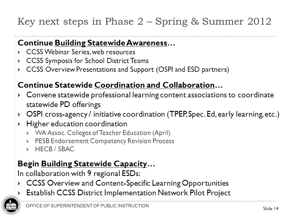 Key next steps in Phase 2 – Spring & Summer 2012