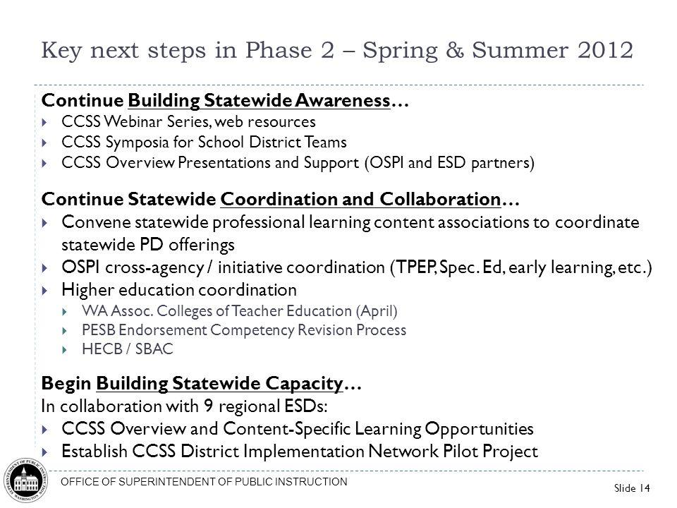 Key next steps in Phase 2 – Spring & Summer 2012