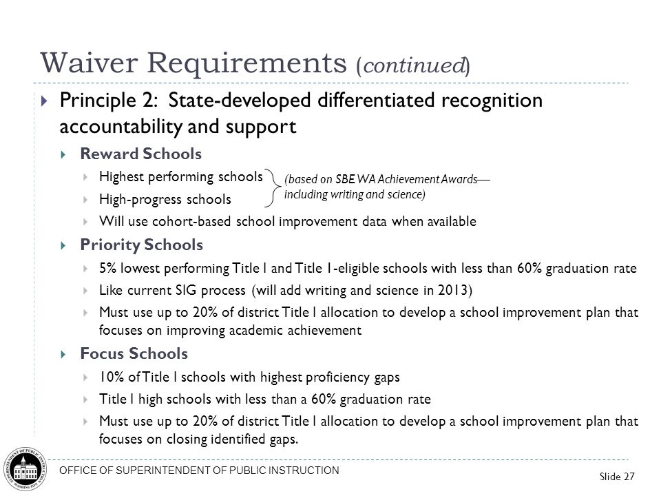 Waiver Requirements (continued)