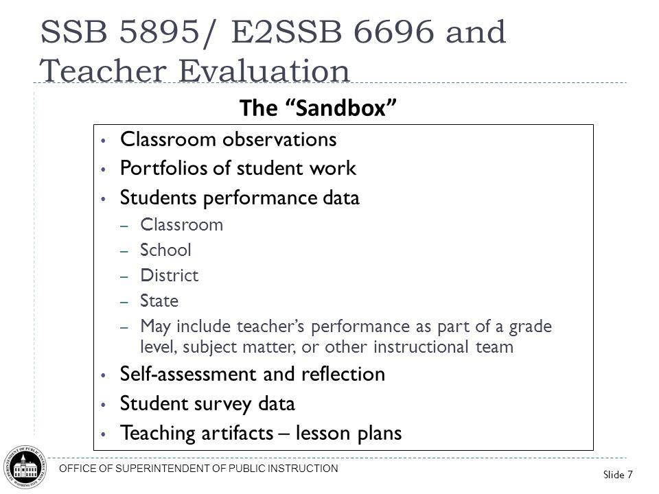 SSB 5895/ E2SSB 6696 and Teacher Evaluation