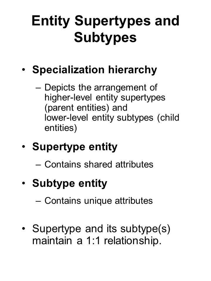 Entity Supertypes and Subtypes