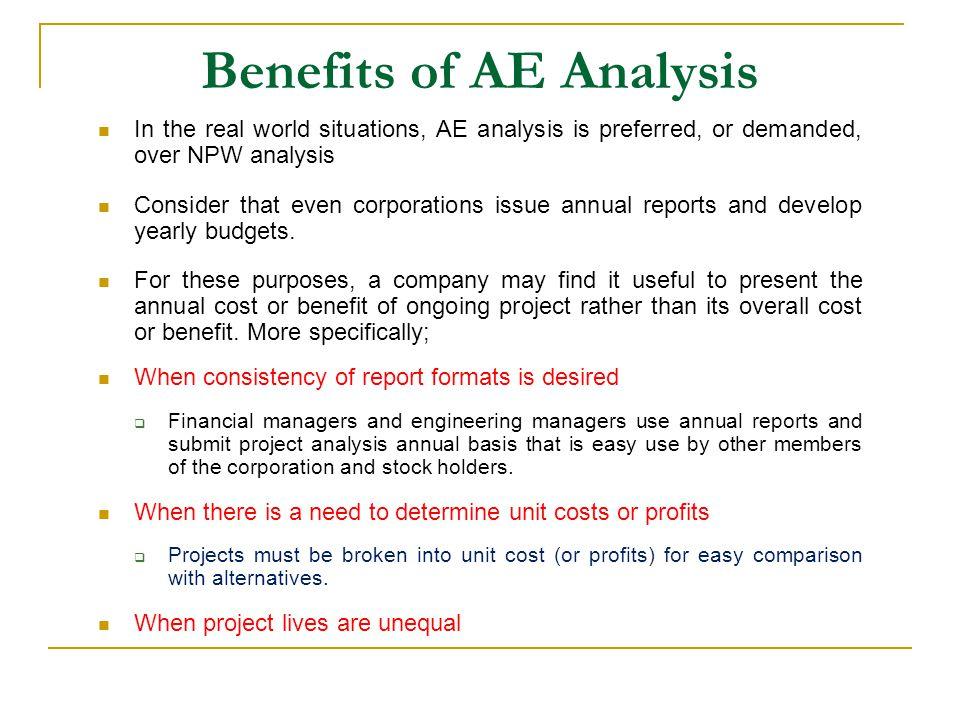 Benefits of AE Analysis