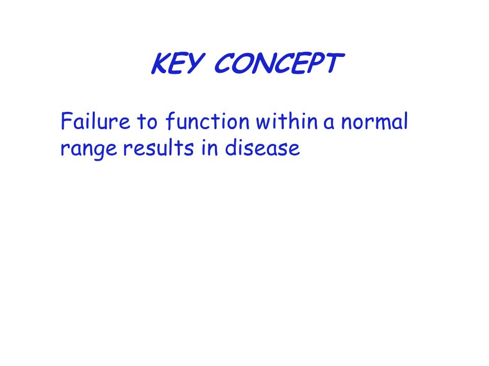 KEY CONCEPT Failure to function within a normal range results in disease