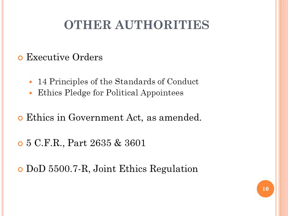 OTHER AUTHORITIES Executive Orders