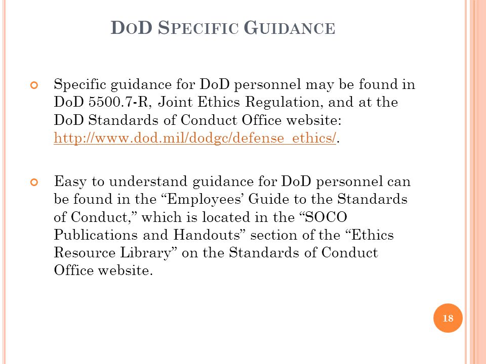 DoD Specific Guidance