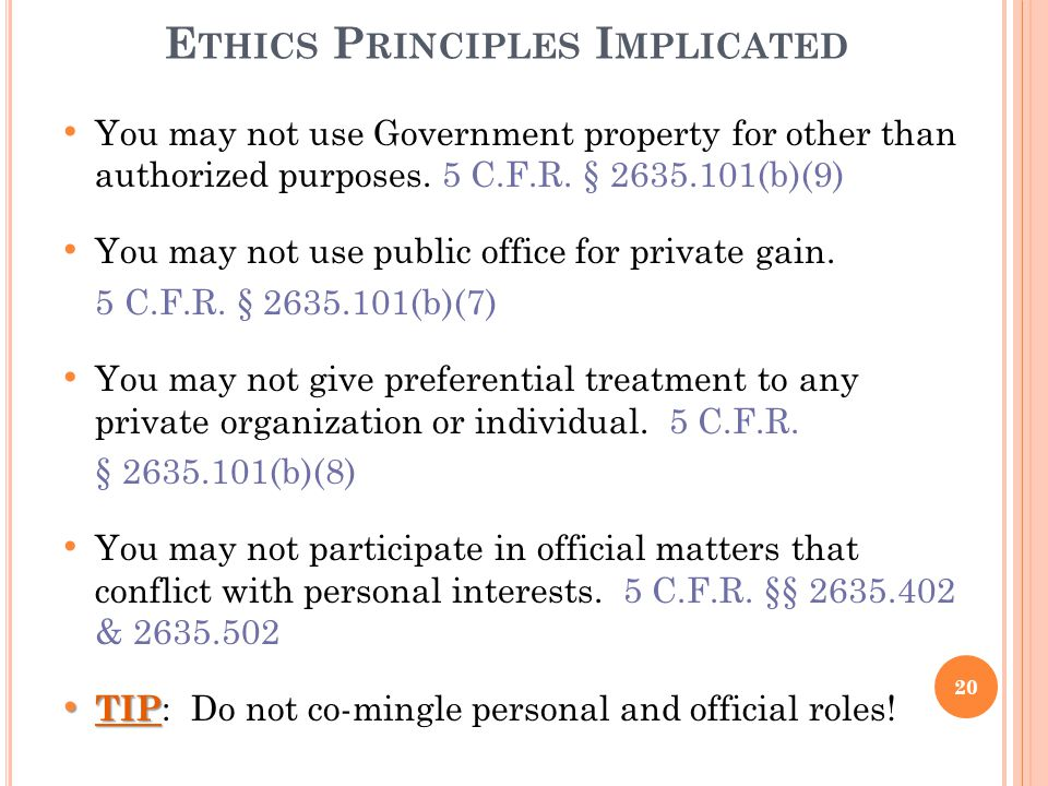 Ethics Principles Implicated
