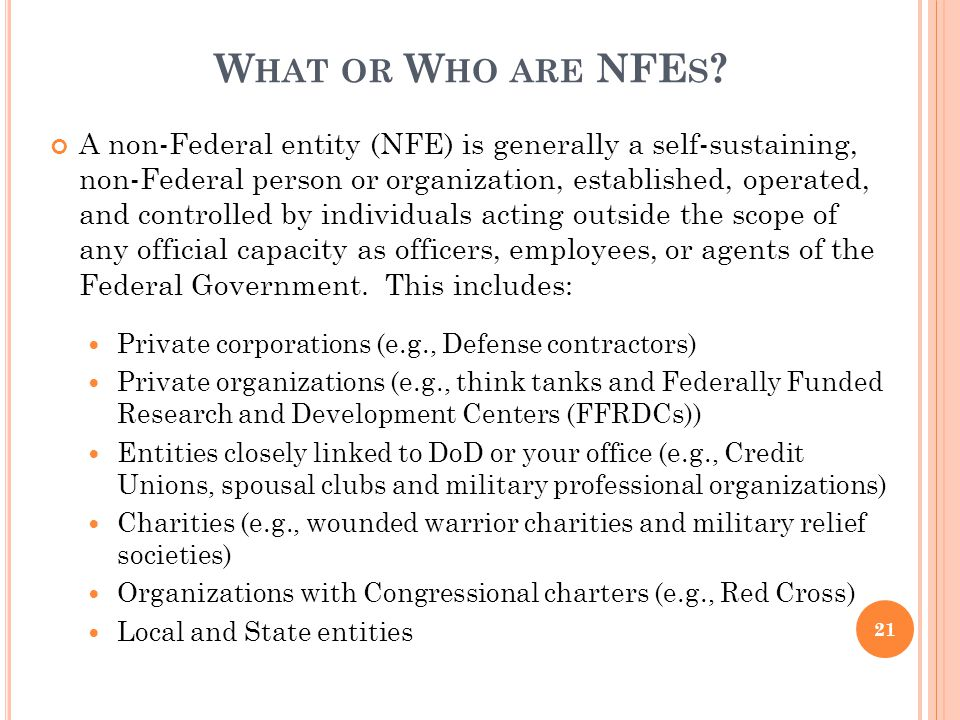 OSD AET 2010 4/5/2017. What or Who are NFEs