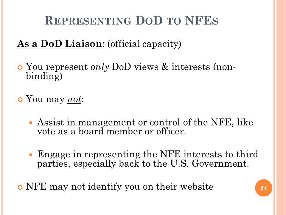 Representing DoD to NFEs