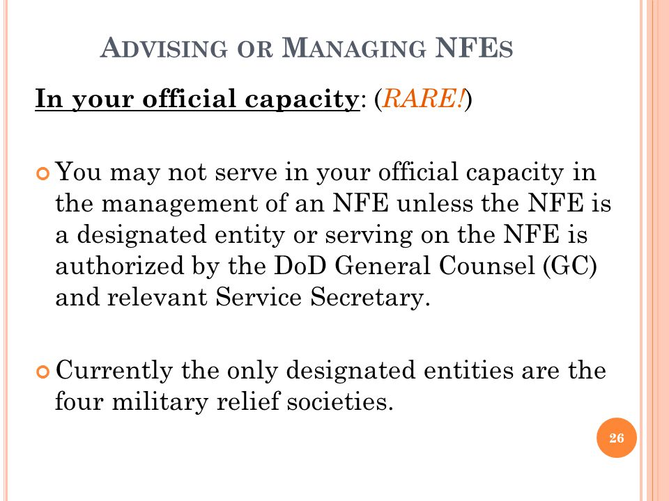 Advising or Managing NFEs