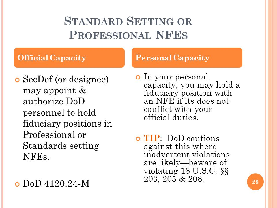 Standard Setting or Professional NFEs