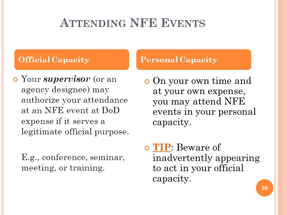 OSD AET 2010 4/5/2017. Attending NFE Events. Official Capacity. Personal Capacity.