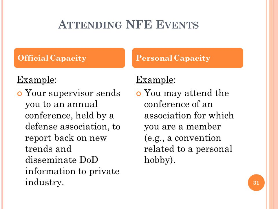 Attending NFE Events Example: