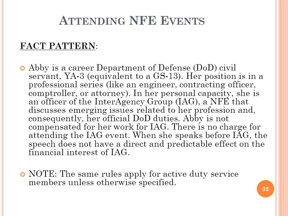 Attending NFE Events FACT PATTERN: