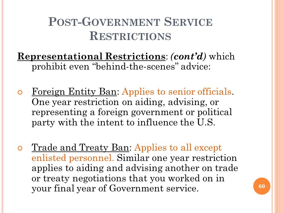 Post-Government Service Restrictions