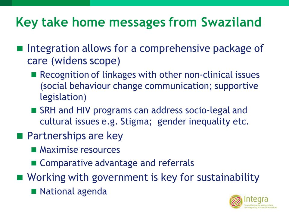 Key take home messages from Swaziland
