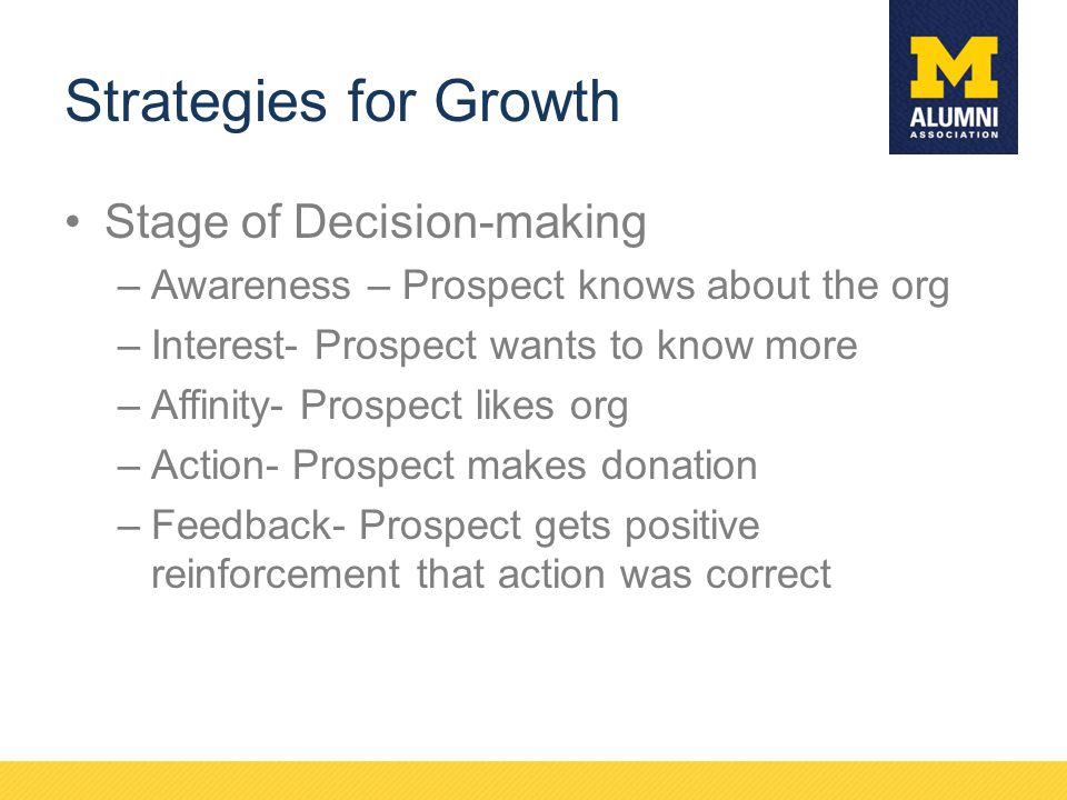 Strategies for Growth Stage of Decision-making