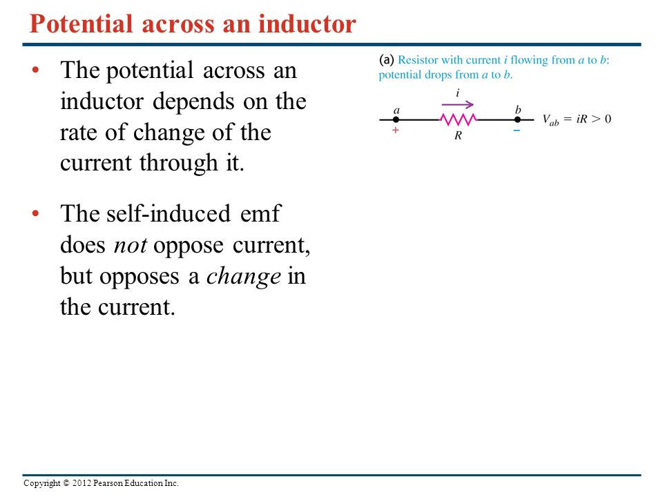 Potential across an inductor