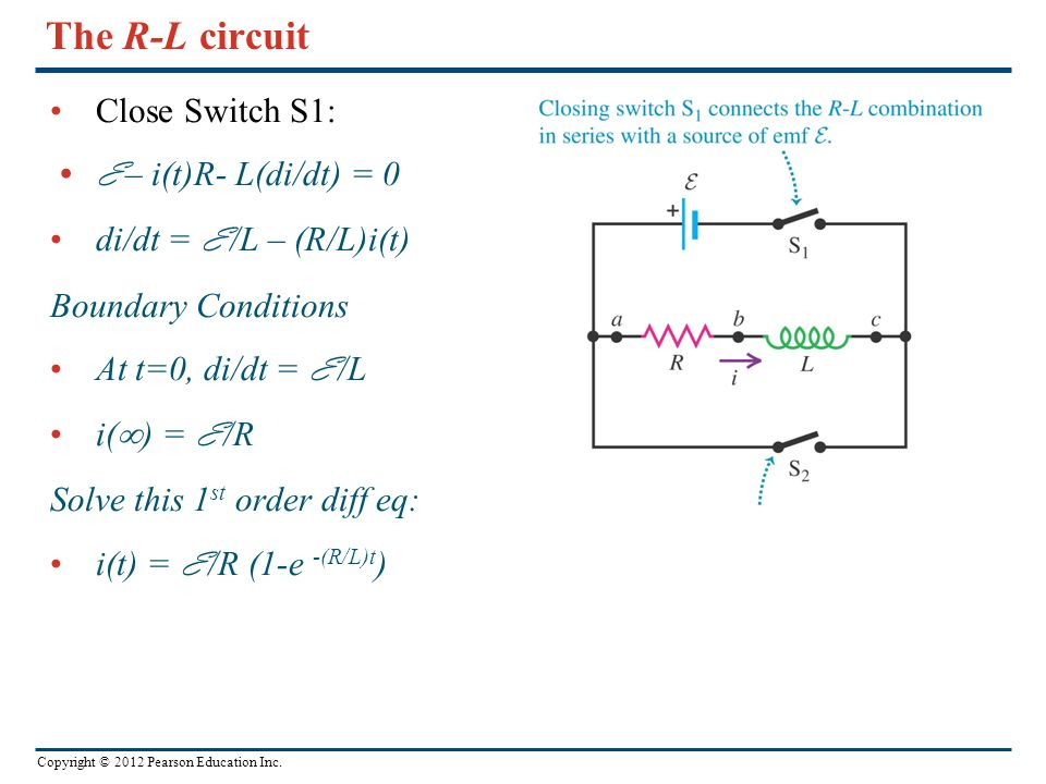 The R-L circuit Close Switch S1: E – i(t)R- L(di/dt) = 0