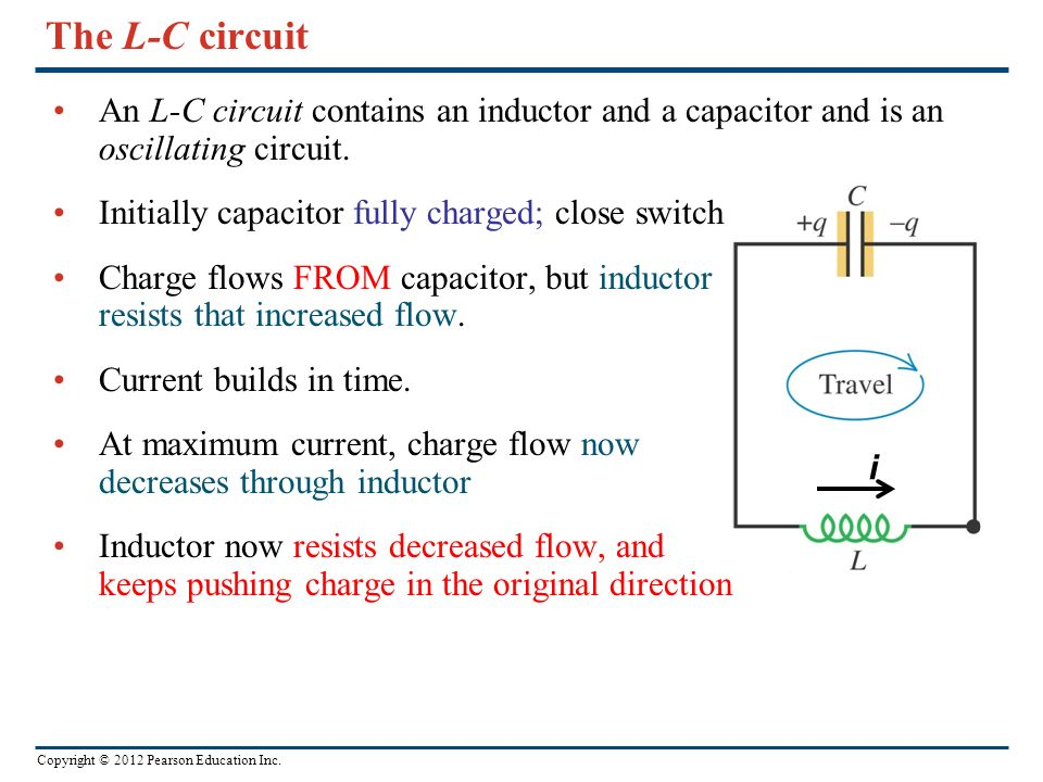 The L-C circuit An L-C circuit contains an inductor and a capacitor and is an oscillating circuit. Initially capacitor fully charged; close switch.