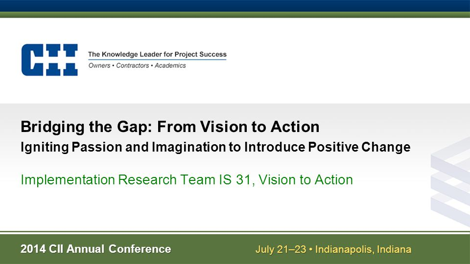 Implementation Research Team IS 31, Vision to Action