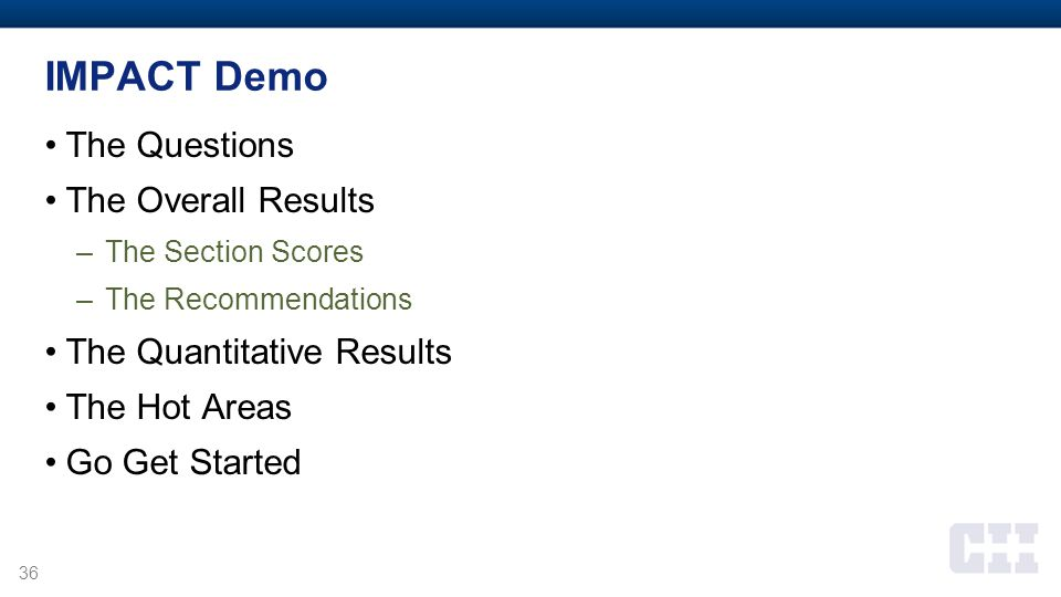IMPACT Demo The Questions The Overall Results The Quantitative Results