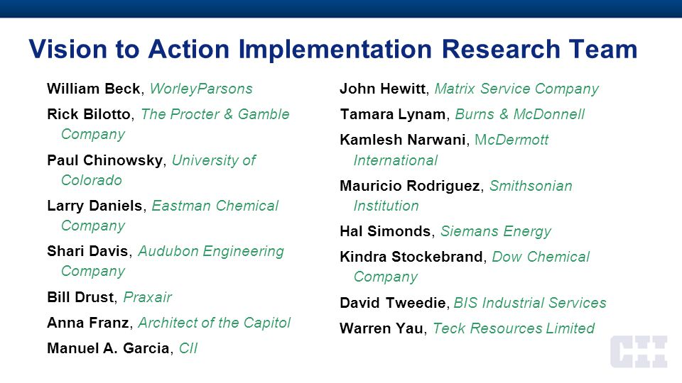 Vision to Action Implementation Research Team