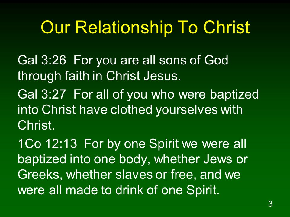 Our Relationship To Christ