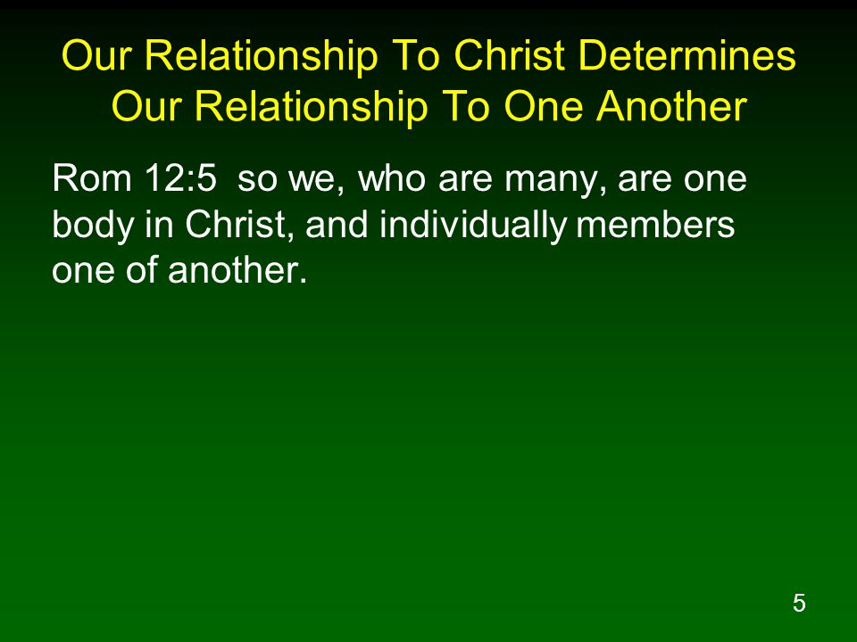Our Relationship To Christ Determines Our Relationship To One Another