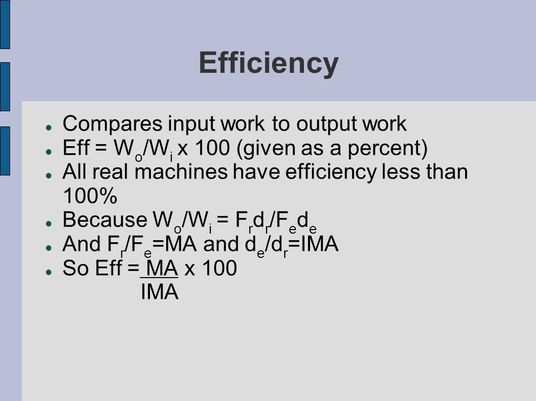 Efficiency Compares input work to output work