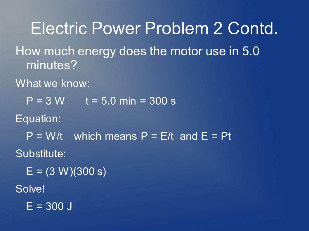 Electric Power Problem 2 Contd.