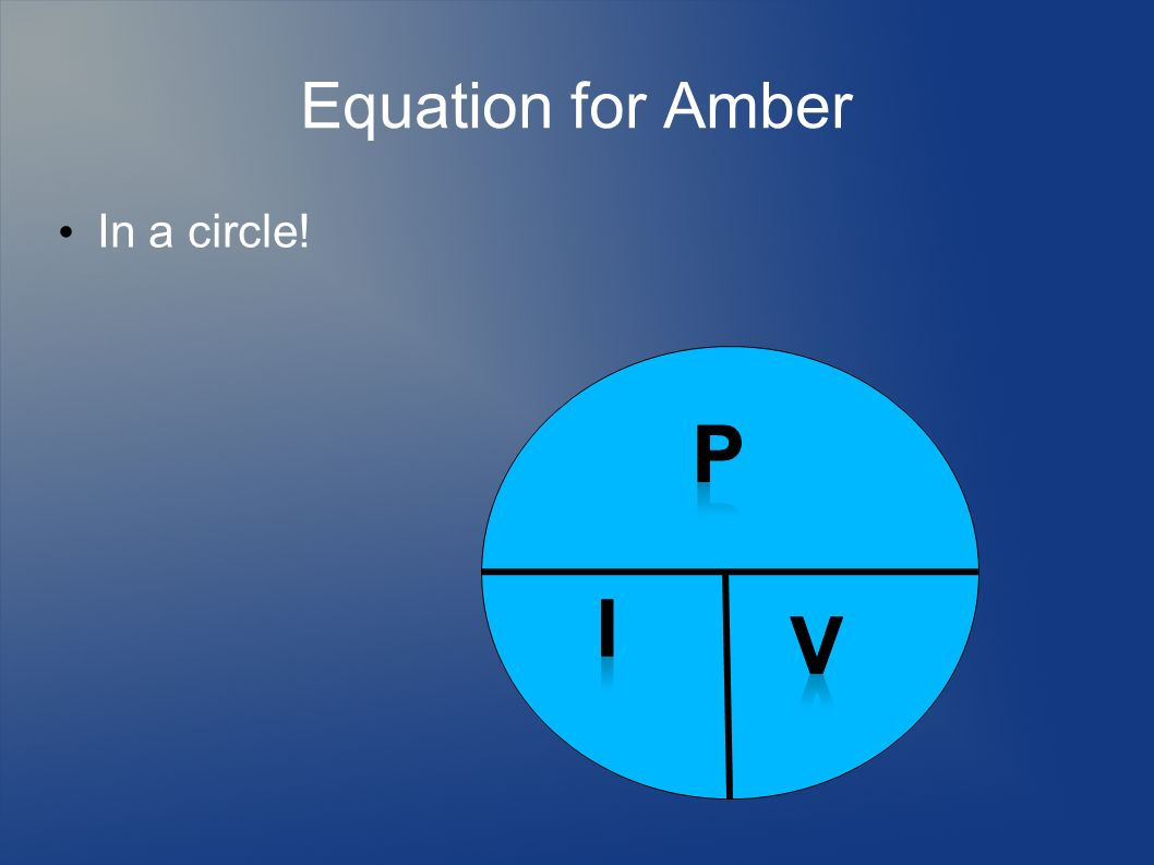 Equation for Amber In a circle! p i v