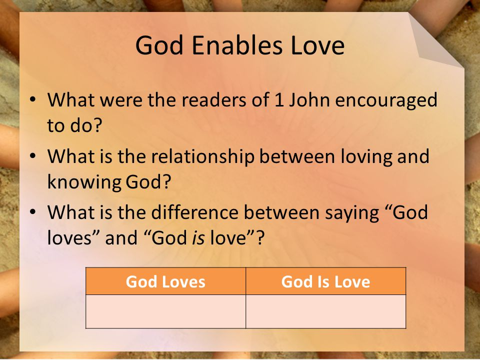 God Enables Love What were the readers of 1 John encouraged to do