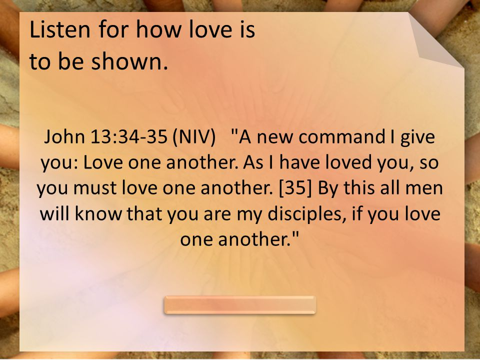 Listen for how love is to be shown.
