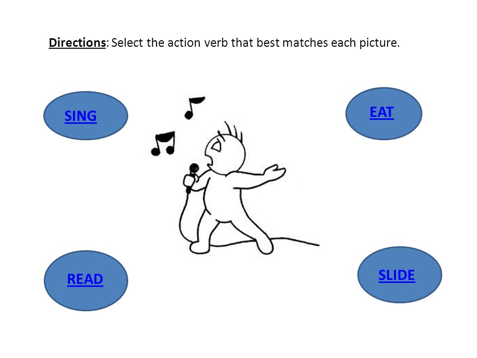 Directions: Select the action verb that best matches each picture.