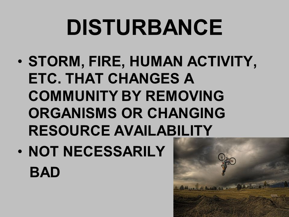 DISTURBANCE STORM, FIRE, HUMAN ACTIVITY, ETC. THAT CHANGES A COMMUNITY BY REMOVING ORGANISMS OR CHANGING RESOURCE AVAILABILITY.