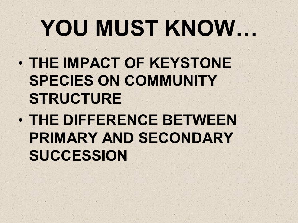 YOU MUST KNOW… THE IMPACT OF KEYSTONE SPECIES ON COMMUNITY STRUCTURE