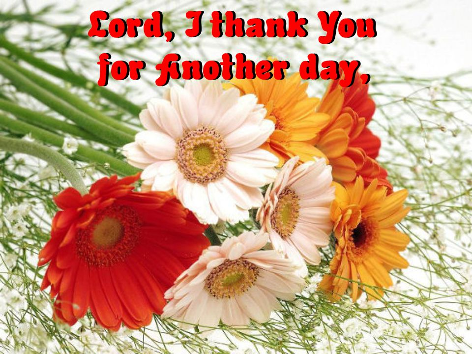 Lord, I thank You for Another day,