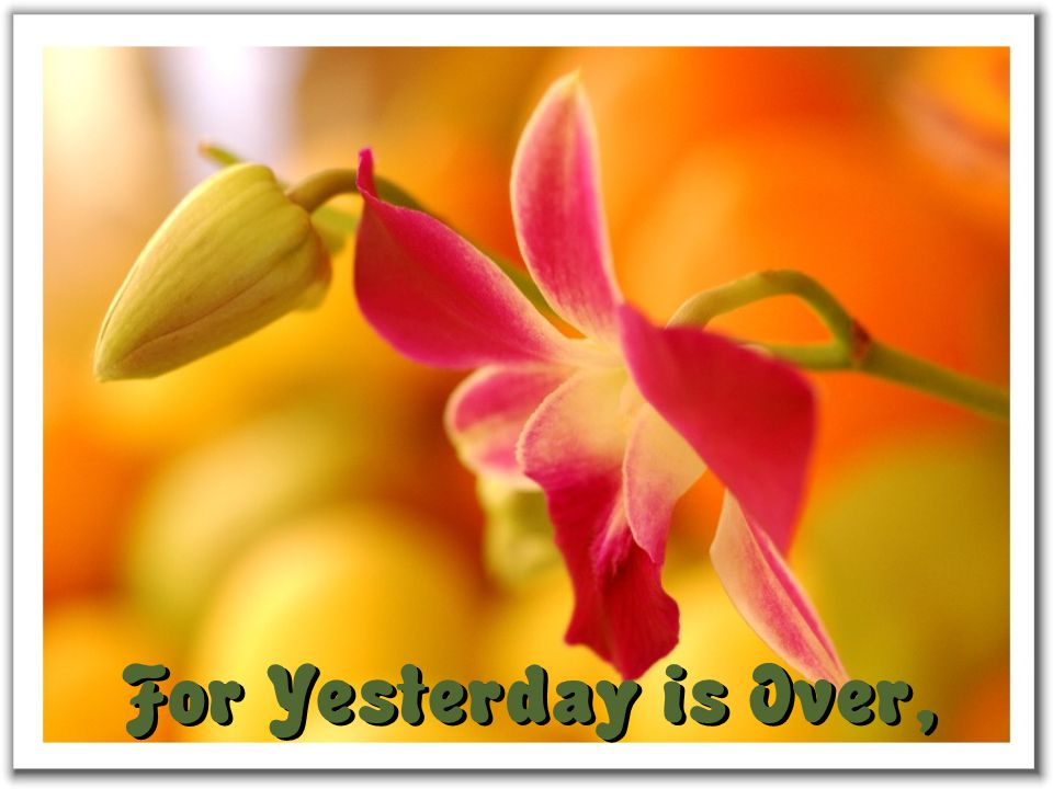 For Yesterday is Over,