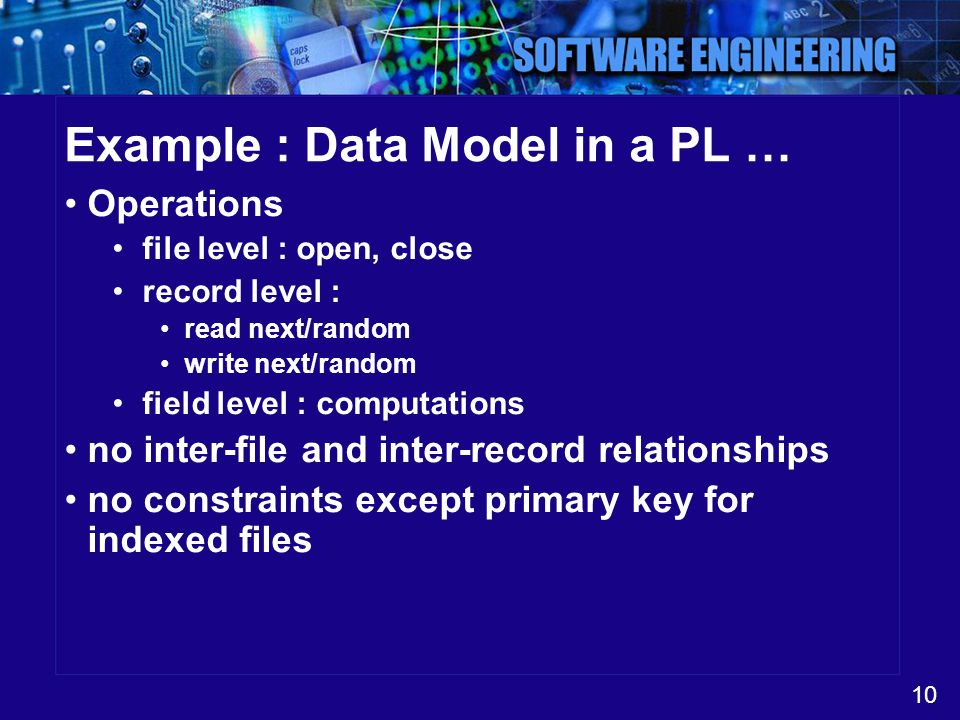 Example : Data Model in a PL …